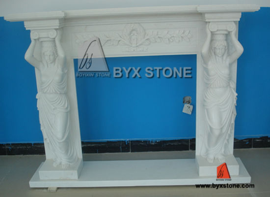 White Marble Stone Fireplace with Flower Carving for Indoor Decoration pictures & photos