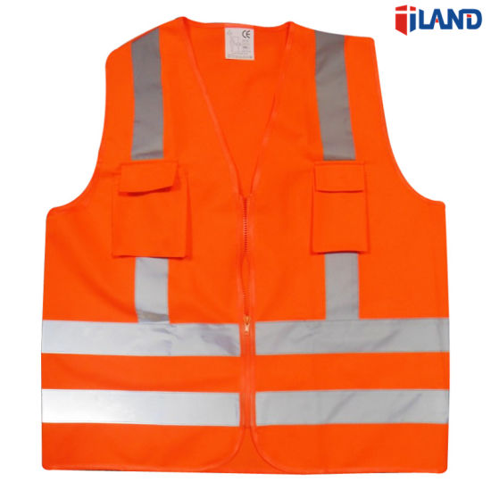 Zipper Closure High Visibility Fluorescent Knitted Fabric Reflective Stripe Safety Vest with Pocket
