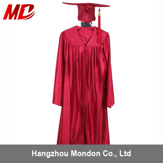 China Kindergarten Graduation Cap And Gown Shiny Red China