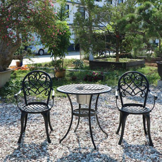 Sea Beach Park Cast Aluminized Metal Gerdan Table and Chairs