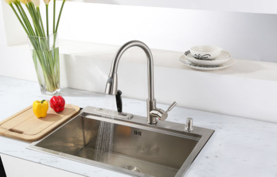 Brushed Nickel PVD Pull Down Kitchen Tap pictures & photos
