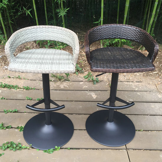 China Modern Outdoor Swivel Dining Garden Patio Rattan Bar Stool Fs