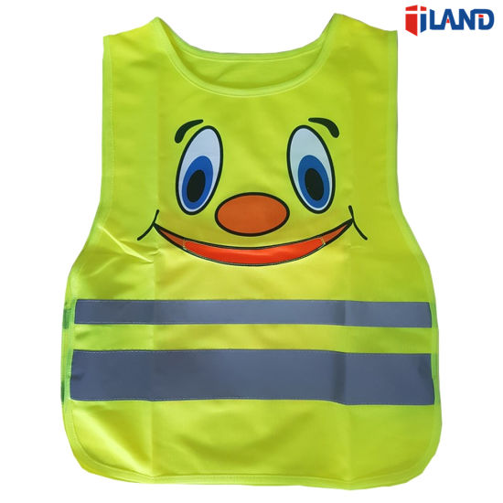 Child High Visibility Fluorescent Knitted Fabric Reflective Tape Safety Vest Clothing with Pocket pictures & photos
