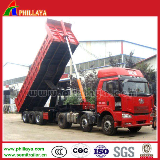 3 Axles Hydraulic Cylinder Tipper Tipping Rear End Dump Trailer pictures & photos