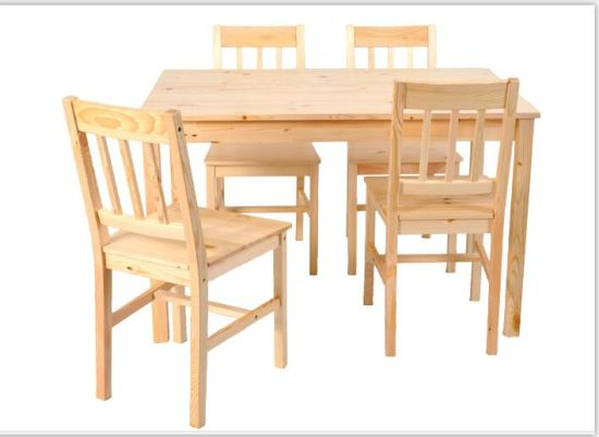 Natural Paint Solid Wood Furniture Dining Table and 4 Chair