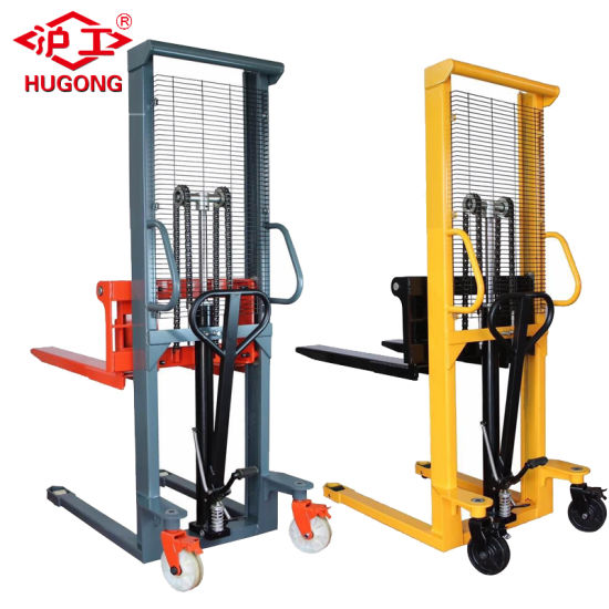 1 Ton 1.6m Hand Forklift Hydraulic Pallet Manual Stacker Price pictures & photos