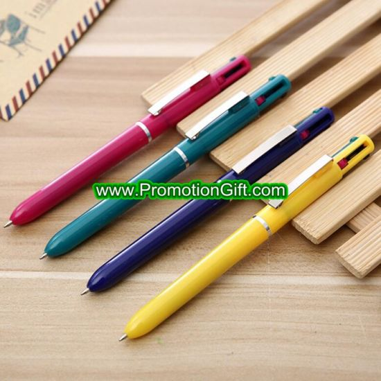 Custom Promotion Multi Four 4 Color Ink Ballpoint Logo Pen