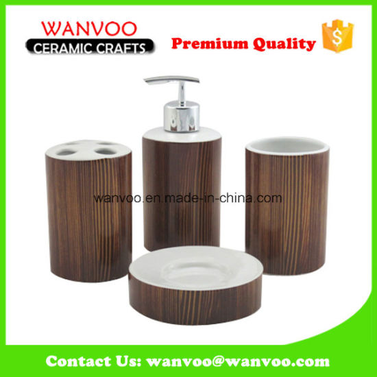 China New Dark Brown Grainy Porcelain Bathroom Accessory Set pictures & photos