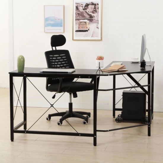 Modern Design L-Shaped Desk Corner Computer Desk PC Laptop Computer Table  Study Desk Home Office Wood & Metal Black
