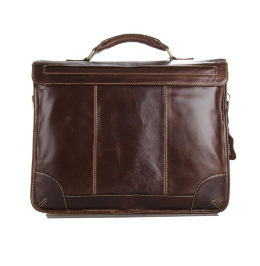 China Manufacturer Wholesale Price Top Quality Brown Leather Laptop Bag Men Briefcase pictures & photos