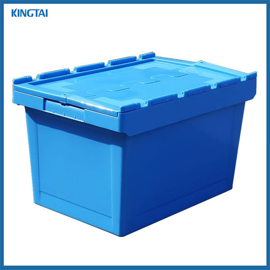 Stackable Hinged Plastic Tote Box/ Plastic Storage Container/ Plastic Moving Crate with Attached Lid pictures & photos