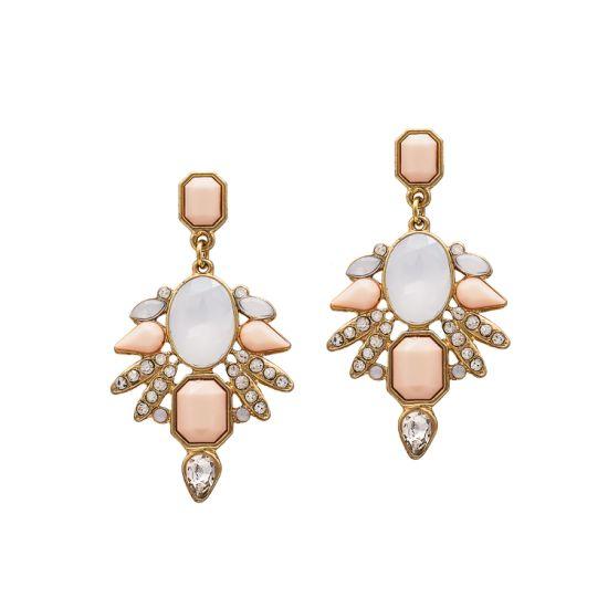 Women Fashion Costume Jewelry Vintage Stone Bead Diamond Stud Earrings