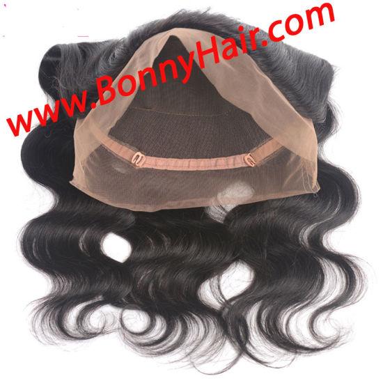 China Peruvian Virgin Human Hair Pre Plucked 360 Lace Frontal