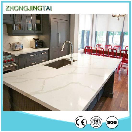 Pure White Calacatta Engineered Quartz Stone Kitchen Countertops