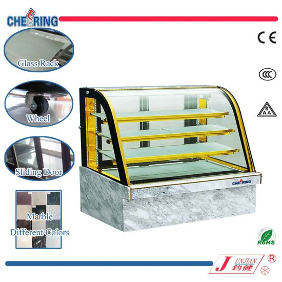 Cheering Hot Sale Commercial Curved Glass Marble Cake Showcase
