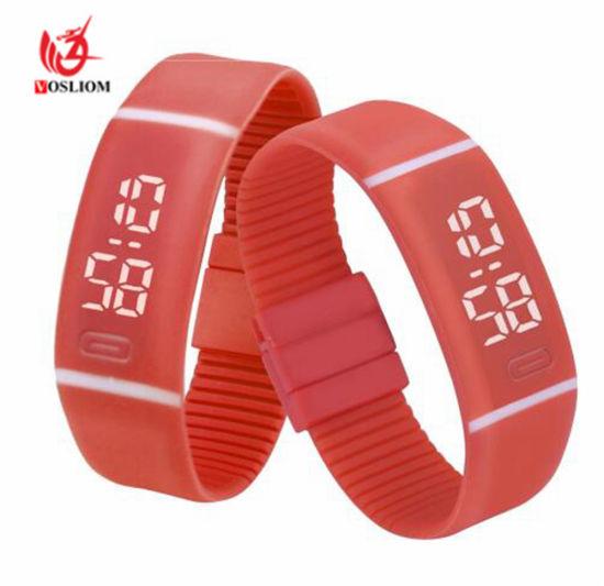 Fashion Digital LED Display Sports Jelly Silicone Band Men Women Wrist Watch Electronic Watch #V906