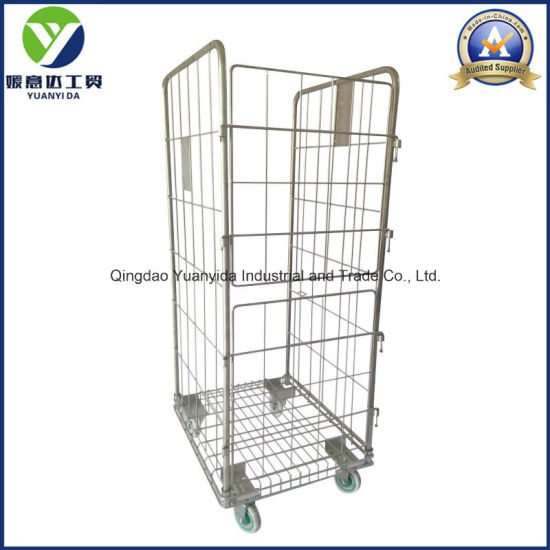 China 3-Sides Big Wire Mesh Hand Trolley/Roll Pallets/Roll ...