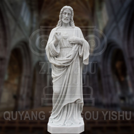 Religious Sculpture Hand Carved Life Size White Marble Statue of Jesus