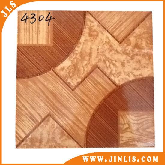 China 4040 Rustic Glazed Polished Fake Wood Ceramic Floor Tiles