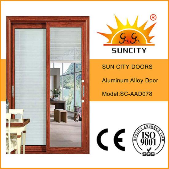 Black Walnut Sliding Aluminum Glass Door for Bathroom (SC-AAD078)