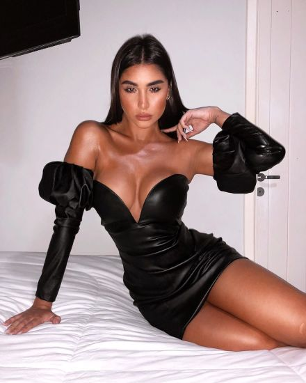 Ladies Sleeve Removable PU Deep V-Neck Sexy Club Dress Custom Slim Short Clothes