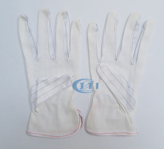 Antistatic Gloves (PVC DOT palm & elastic wrist) for Clean Room Working