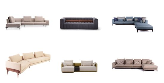 Modern Design Tufted Linen Fabric Couch Furniture Living Room Sofa
