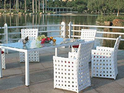 European Elegant Rattan Dining Room Table and Chair Combination furniture