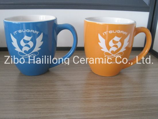 16oz White Inside Colored Outside Stoneware Mug with Logo