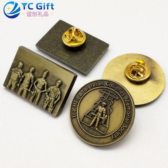 China Supplies Custom Zinc Alloy Antique Bronze National Hero Memorial Emblem Personalized Decoration Eco-Friendly Lapel Pins Maker Army Military Metal Badges