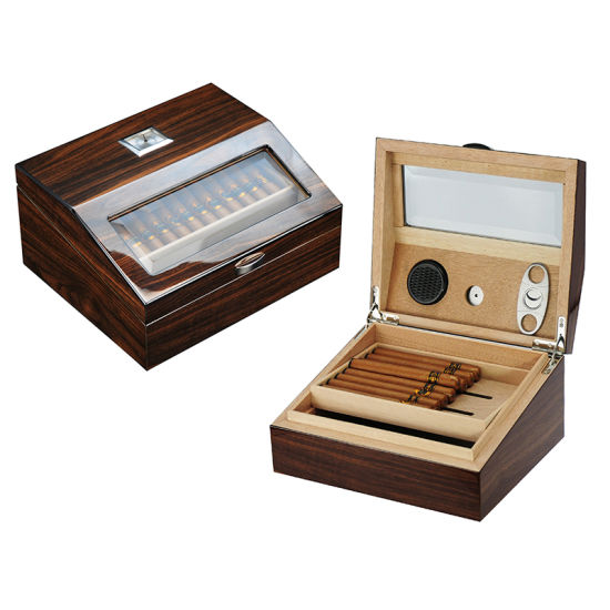 New Wooden Cigar Humidor Storage Box with Rectangular Hygrometer and Humidifier pictures & photos