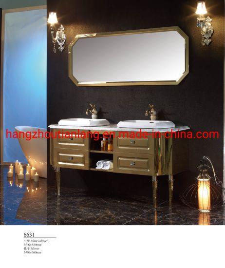 Golden Double Basin Stainless Steel Modern Storage Bathroom Luxury Vanity