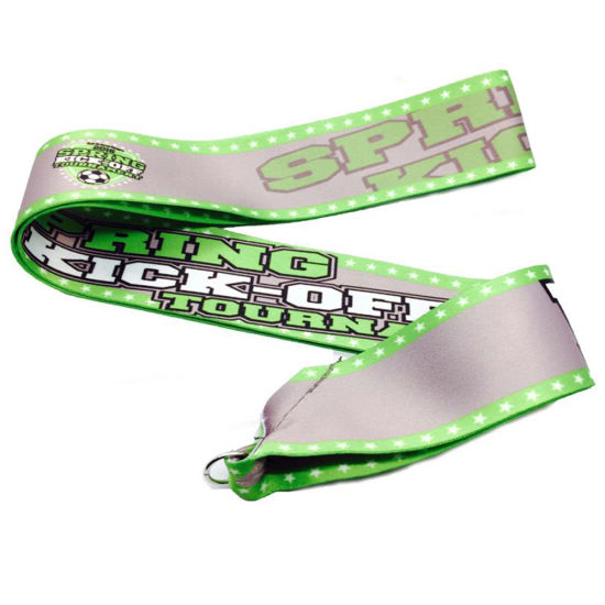 Customized Simple Material Design Black Yellow Medal Ribbon Lanyard pictures & photos