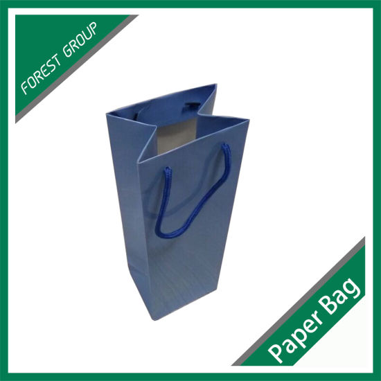 Blue Paper Bag with Cotton Handle pictures & photos