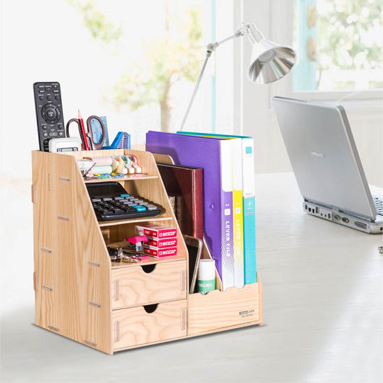 [Hot Item] D9116 Wooden DIY Magazine Holder with Drawers and Pen Holder
