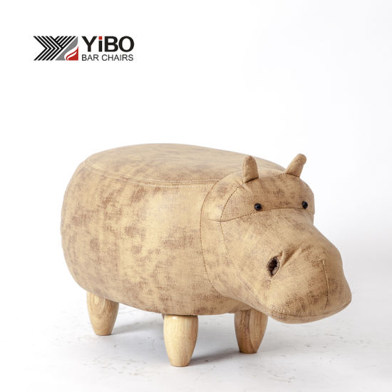 Hot Selling Modern Hippopotamus Shaped Animal Storage Footstool Ottoman for Kids
