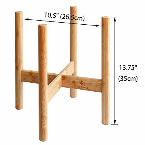 Indoor Adjustable Dark Bamboo Wood Plant Stand