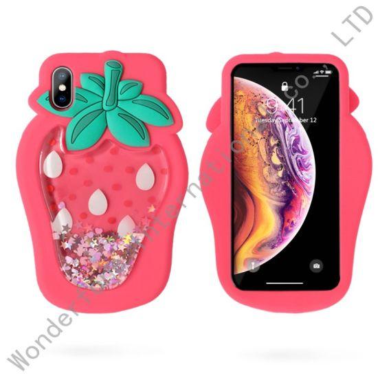 3D Pineapple Strawberry Liquid Glitter Silicone Case Cover for ...