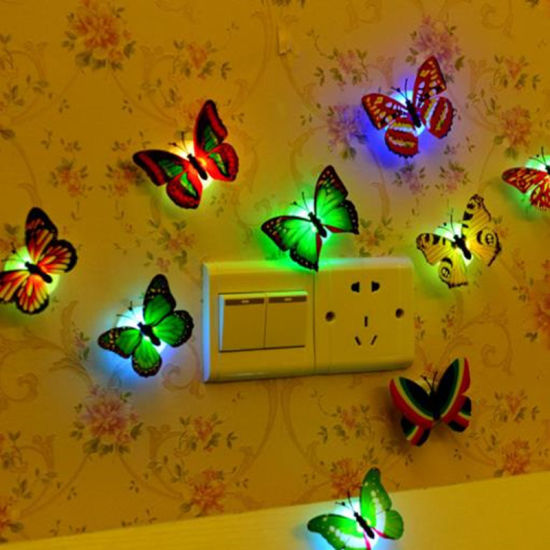 Colorful Butterfly LED Night Light Pastable LED Decorative Wall Light