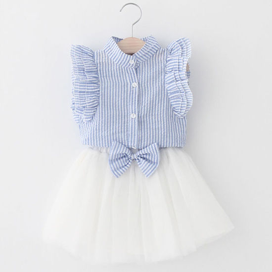 Summer Style Girls Clothing Sets Butterfly Sleeve Striped Girls Skirt