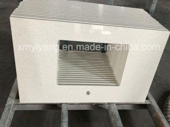 White/Black/Beige Polished Quartz Stone Countertop for Bathroom/Kitchen