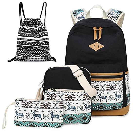 Girls′ Canvas Backpack Set 4 Pieces Patterned Bookbag Laptop School Backpack c8491eafab8c6