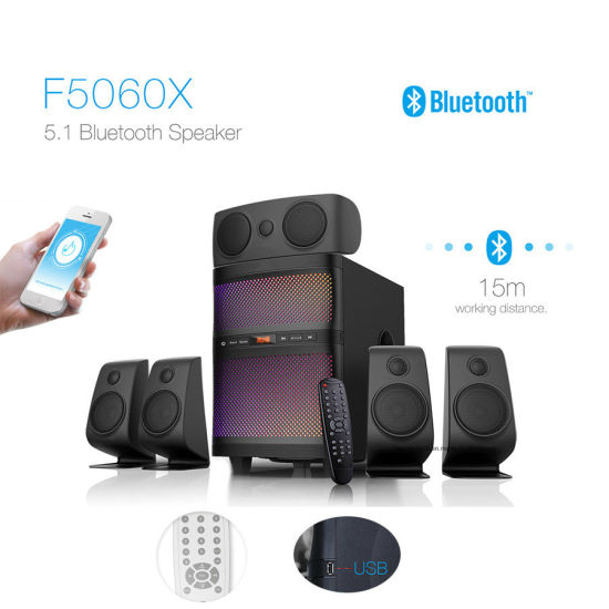 5.1 Home Theater Multimedia Bluetooth Speaker Surround Sound HiFi Speaker with Changeable LED Lights