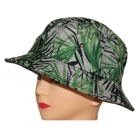 1f3fa9175ab China Wholesale Bamboo Printing Green Bucket Hat Hunting Cap - China ...