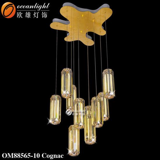 Modern Crystal Cognac Ten Cylinders Chandelier Pendant Light