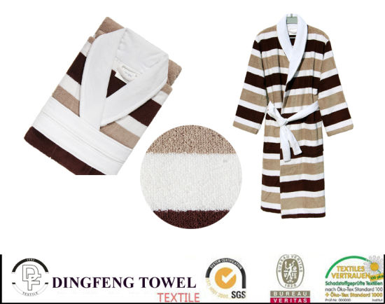 100% Cotton Super Soft Jacquard Bathrobe Df-8859