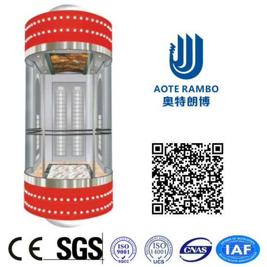 400kg-1600kg Round Hard Glass Gearless Panoramic Elevator Without Machine Room (G02)