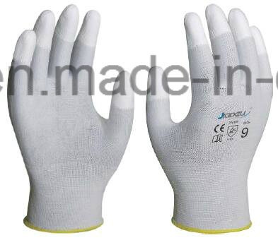Classic Nice Price Low Cost Light Weight White Nylon Glove with PU Coated on Fingertips (PN8011)