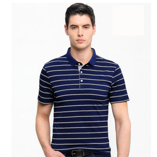 100%Cotton Men's Polo Shirt Stripe Polo Golf Polo Shirt