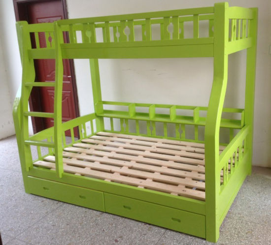 Green Color Wooden Kids Bunk Bed Good Style Bunk Bed (M-X1102)